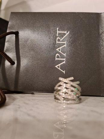 cudny srebrny pierścionek z mnóstwem cyrkonii_firmy APART