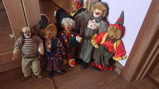 Лот фарфоровых клоунов 5 штук, фарфоровый клоун