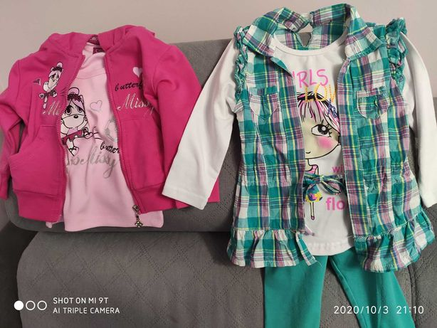 Komplet dla dziewczynki, bluza, t-shirt, bluzka, leginsy 74