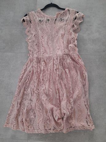 Sukienka koronkowa brudny roz Andżela nowa 38