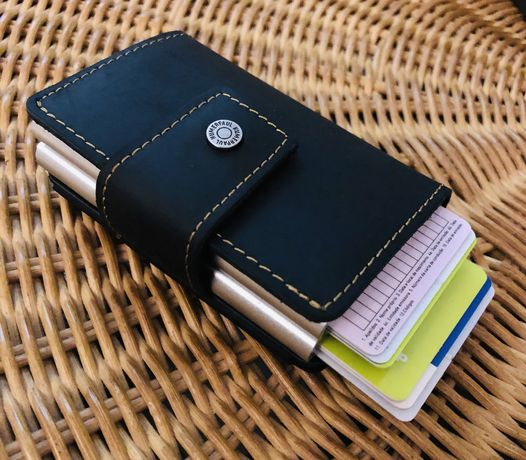 Pele genuína porta cartões DUPLO RFID
