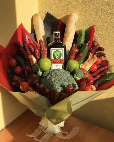 Подарок ДеньРождение Юбилей Праздник Сюрприз Букет из колбасы фруктов