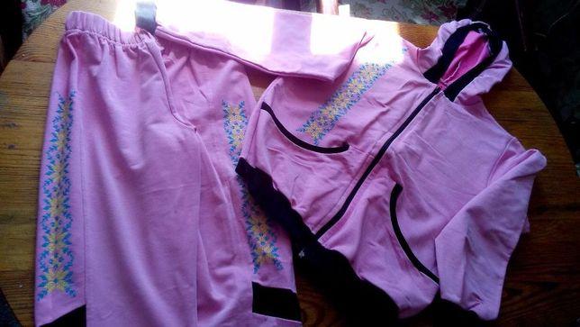 Спортивный костюм с вышивкой , цвет -розовый с черными вставками и вы