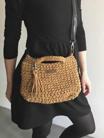 karmelkowa torebka ze sznurka handmade