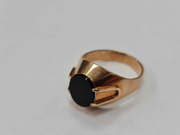 Warmet! Onyks! Piękny złoty sygnet męski/ 585/ 7.60 gram/ R26