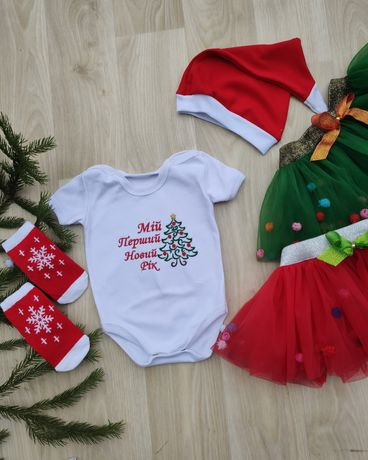 Боді новорічний новогодний, юбка пачка, первый новый год