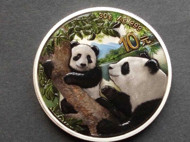 China 10 Yuan 2021 Panda, Mit Baby prata fina 0,999 não circulada