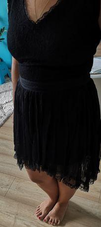 Sukienka ETTE LOU 40 czarna plisowana koronka siateczka wesele asymetr