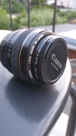 obiektyw Canon EF 50 mm 1:1.4 Japonia, filtr UV Heliopan