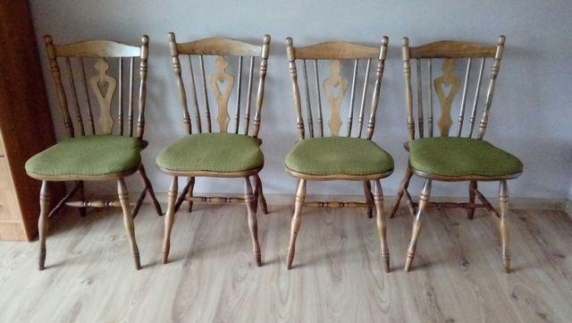 Krzesła drewniane z obiciami PRL