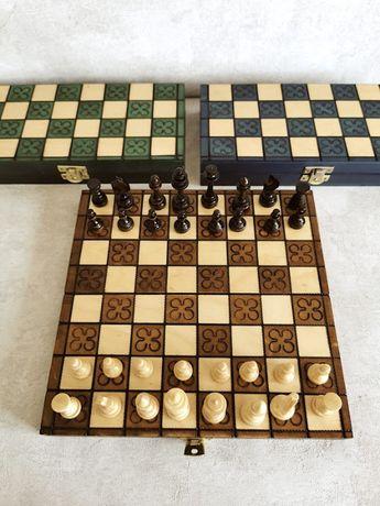 Nowe, drewniane szachy, 24cm brązowe