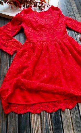 Sukienka dziewczęca czerwona 116