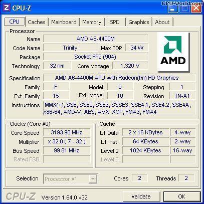 Продам процессор AMD A6-4400M