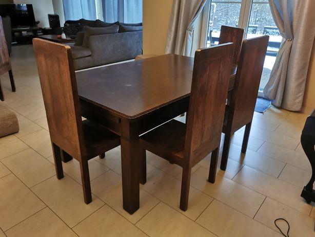 Komplet. Stół dębowy wraz z krzesłami