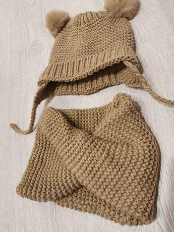 Komplet na zimę Zara czapka komin rozmiar 80