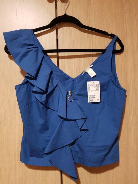Nowa bluzka niebieska na wyjście z falbaną r. 36 RESERVED