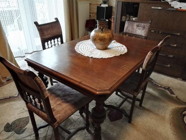 Komplet stół antyk dębowy plus 4 krzesła