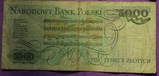 banknot 5000 zł, Chopin, PRL, niedrogo!