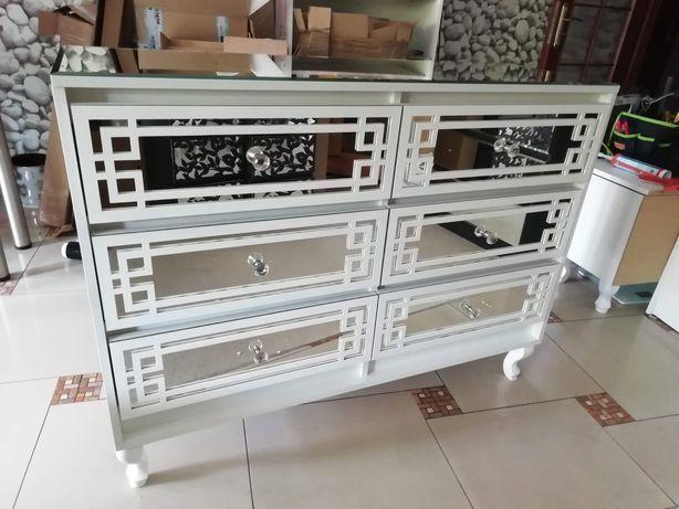 Duża komoda lustrzana Glamour, biała 6 szuflad 120cm