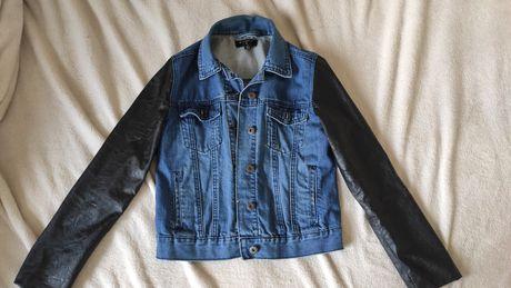 Kurtka jeansowa z ekoskorą