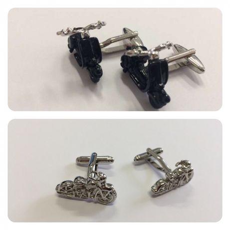 Botões de punho mota | vespa | preta | Harley Davidson Prateada