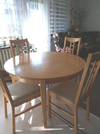 Stół rozkładany i 6 krzeseł IKEA drewniany