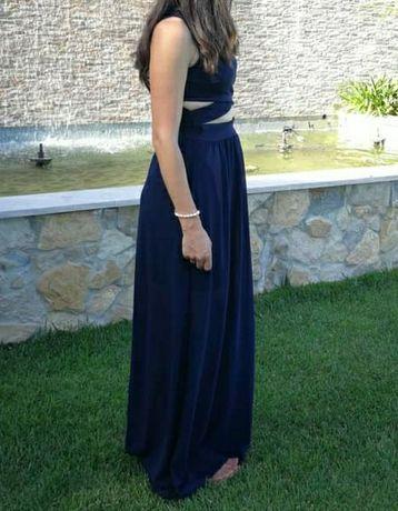 Vestido lindo cerimónia azul escuro aberto à frente cruzado 38