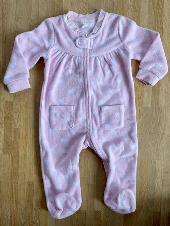 Jednoczęściowa piżamka dla dziewczynki rozmiar 74 pajac polar