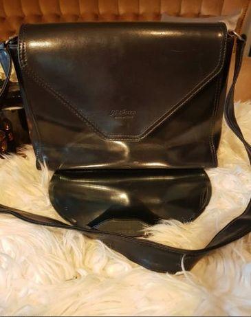 A. Valentino czarna klasyczna  torebka skórzana skóra naturalna