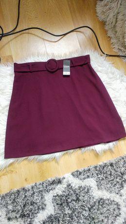 Nowa fioletowa spodnica wysoki stan z paskiem