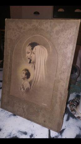 Bardzo stary duży obrazek z rodziną świętą z sygnaturą