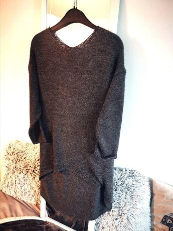 Długi, sweter, szary oversize