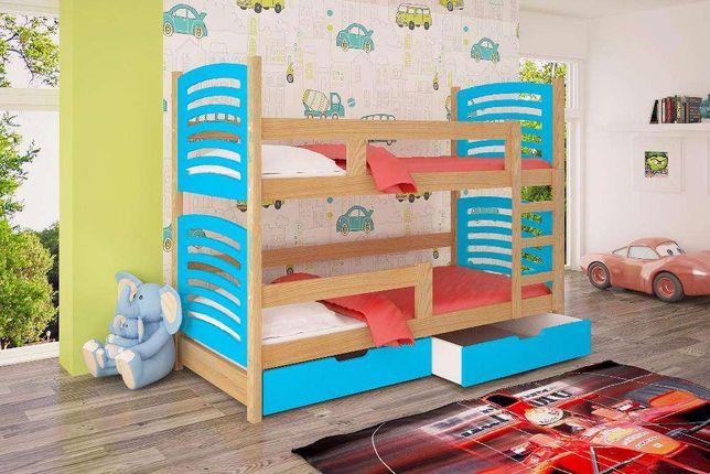 Łóżko piętrowe OLI z szufladami, materacami oraz barierką.