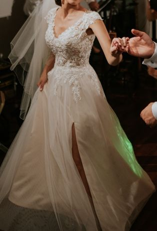 Suknia ślubna Herm's Bridal model Barton kremowa rozmiar 32 xxs ślu