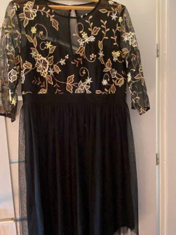 sukienka little mistress- czarna w kwieciste wzory