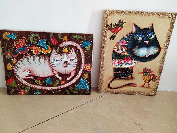 картини холст, масло Коти в українському етно стилі
