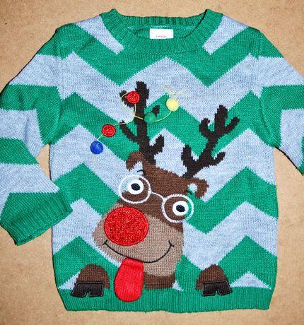 623^ george Świąteczny sweter Renifer 1,5/2L_92 cm
