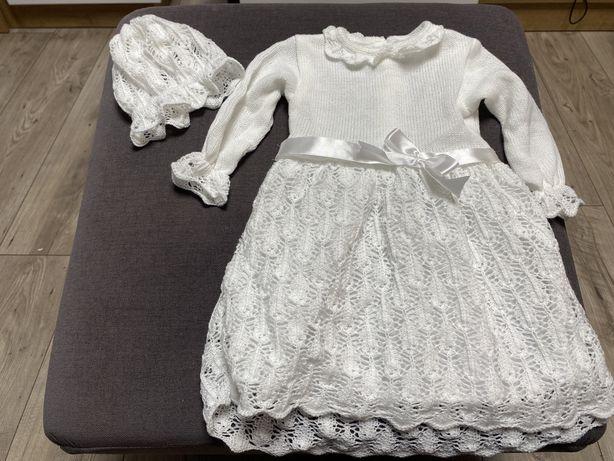 Biala sukienka koronkowa z czapeczką r.86 na chrzest