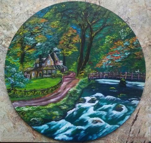 """Картина олією """"Будинок у лісі"""""""