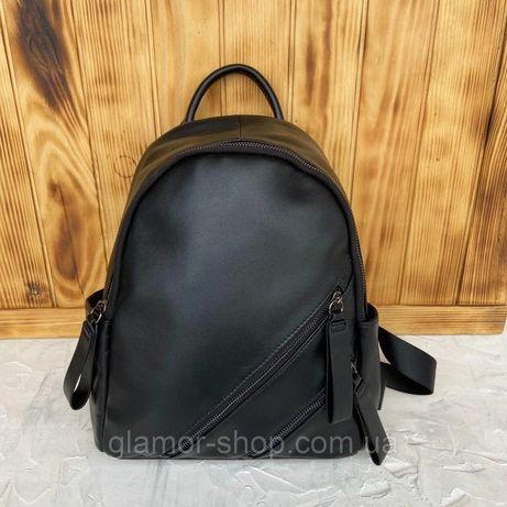 Женский кожаный городской рюкзак чёрный жіночий шкіряний ранець чорний
