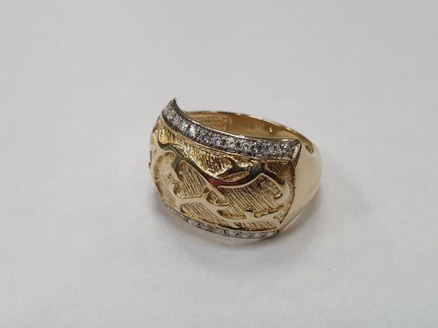 Piękny złoty pierścionek damski/ 585/ 5.72 gram/ R16/ Cyrkonie/ sklep