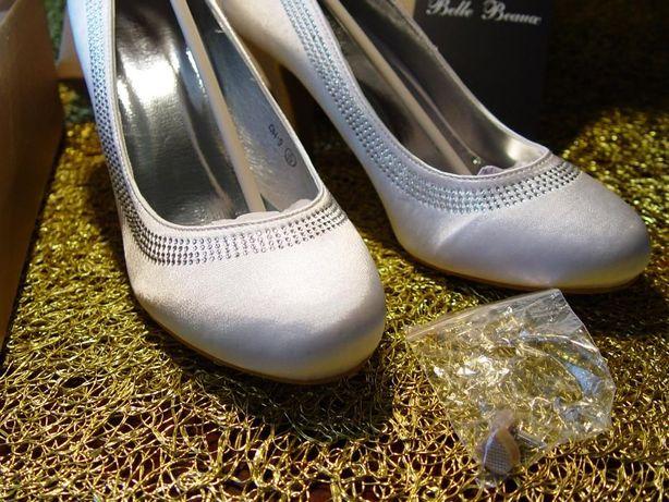 NOWE BUTY 39 ślub SATYNA białe z cyrkoniami obcas 9 cm UK