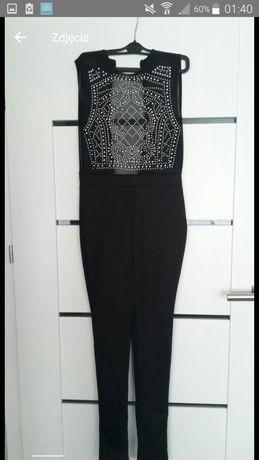 Elegancki czarny kombinezon spodnium z kryształkami roz S 36