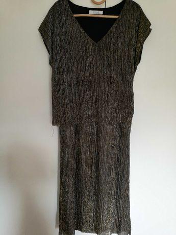 Suknia długa złoto srebrna z połyskiem