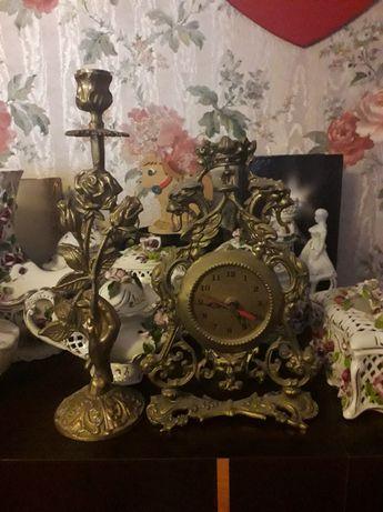 Zegar i świecznik mosiadz