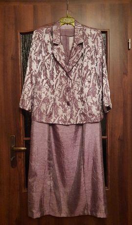 Kpl. satynowy żakiet + suknia XL