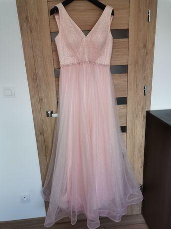 Przepiękna długa suknia bajkowy róż błyszcząca ślub cywilny wesele