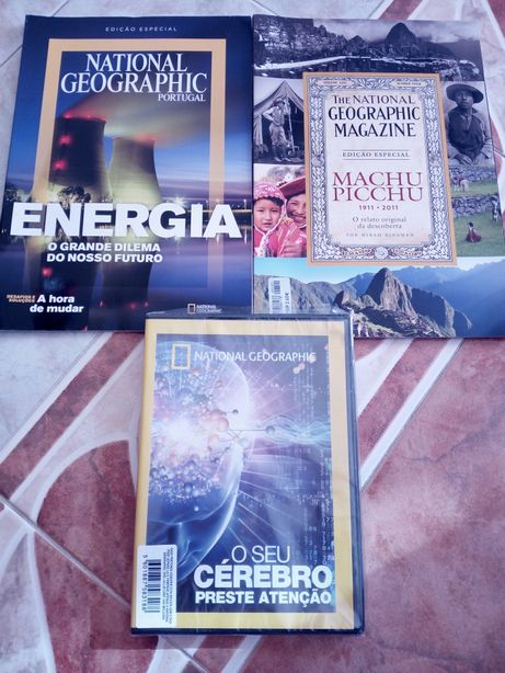 DVD selados e revistas National Geografic