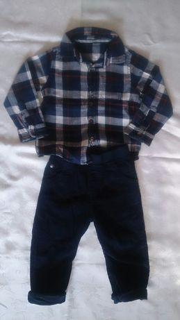Zestaw koszula flanelaMATHERCARE+spodnie sztruksyTU r.80/86