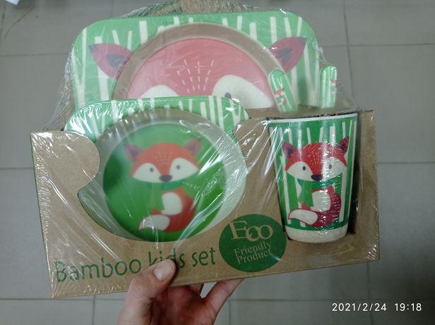 Эко бамбуковая посуда детская: лисичка, божья коровка